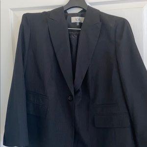 Ladies plus size business suit navy pin stripes